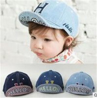 Wholesale baby boy brim hats - Spring Summer kids cowboy embroidery ball cap baby turning brim soft hat baby baseball cap infants denim cotton cloth girls boys baby hat B1