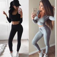 conjunto de leggings de mujer al por mayor-Mujeres Slim Fit Sexy Body Curve Chándal Scoop Neck Short Crop Pullover Con Leggings Pantalones 2pcs / set Traje deportivo