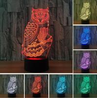 baykuş oda dekoru toptan satış-Mighty Baykuş 3D Görsel RGB Led Anahtarı Dokunmatik Uzaktan Gece Işıkları Çocuklar Için masa Lampara Lampe Bebek Uyku Odası Dekor Lamba Doğum Günü Noel hediyeler