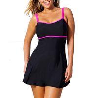 черный монокини купальник для плюса оптовых-Лето цельный купальник плавать юбка купальники стринги купальный костюм Бразильские женщины плавание одежда черный старинные монокини плюс размер L-3XL