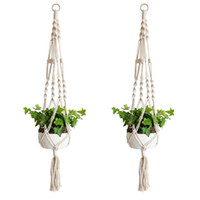 Wholesale Indoor Plants Decoration - Macrame Plant Hanger Indoor Outdoor Hanging Planter Basket Cotton Rope Home Garden Balcony Decoration 4 Legs 40 Inch