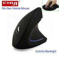 ingrosso la guarigione della luce-CHYI Wireless Mouse Ergonomico ottico 2.4G 800/1200 / 1600DPI Colorful Light polso Healing Vertical Mouse con Mouse Pad Kit per PC