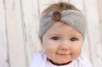 Wholesale baby hair headband winter - Multicolor Baby Wool Crochet Headband Knit Hairband With Button Decor Winter Newborn Infant Ear Warmer Headwrap Hair Ribbon