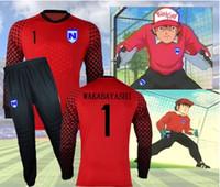 ingrosso set di tè giapponesi-JP Anime Capitan Tsubasa Squadra di calcio giapponese JFA Portiere Wakabayashi Genzo Cosplay Set Tee Shirt Soccer Jersey