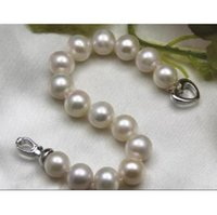 """Wholesale south sea pearls rings - GORGEOUS 12-13mm south sea round natural pearl bracelet 7.5-8"""" heart buckle"""