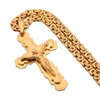 großer hornanhänger großhandel-74mm * 44mm Großes Kreuz Halskette Gold Farbe Edelstahl Trendy Anhänger Kette Weihnachtsgeschenk Für Männer / Frauen Bibel Schmuck