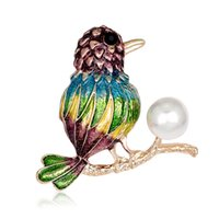Wholesale wedding oil paintings - Pin Crystal Jewelry Diamond Brooch Spot Wholesale Hand-painted Oil Animal Corsage Bird Fashion Brooch Female Jewelry Temperament Women