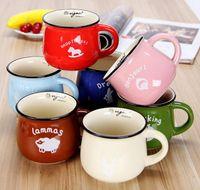 zakka kupalar toptan satış-7 Renkler Kahve Kupa Kore yaratıcı seramik kupalar Süt kupa zakka tatu handgrip ile GX023 çift kahve kupalar