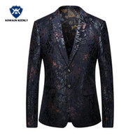Wholesale Suite Jackets - Men Blazer 2017 Slim Fit Mens Floral Blazer Casual Black Wine Red Suite Jacket Coats Stage Wear Men Stage Costumes