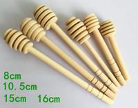 Wholesale mini wooden spoons wholesale - 8cm 10cm 15cm 16cm long Mini Wooden Honey Stick Honey Dippers Party Supply Spoon Stick Honey Jar Stick