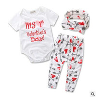 Wholesale Kids Bow Arrows - Infants outfits 2018 Summer baby Girls letters rompers+love hearts arrows printed pants+Bows headbands 3pcs sets Toddler kids clothes C2705
