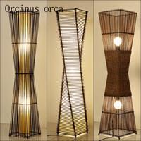 китайский пол оптовых-Юго-восток простой китайский торшер гостиничный номер современная спальня лампа творческий бамбуковый пол бесплатная доставка