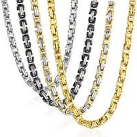 тяжелые длинные золотые ожерелья оптовых-Хип-хоп цепи для мужчин старинные коробки Византийской цепи ожерелье золото черный серебряный цвет нержавеющей стали ювелирные изделия длинные тяжелые NZ022