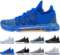 Wholesale kd sneakers for men resale online - 2018 KD EP Basketball Shoes for Top quality Correct Version Kevin Durant X kds s Rainbow Wolf Grey KD10 FMVP Sports Sneakers USA