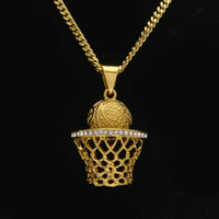 Wholesale European Plate Frame - Mens hip hop jewelry crystal basketball frame shape pendants European and American style rhinestone hiphop chain necklaces accessorie
