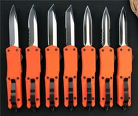 Wholesale ladies hunting - Orange Large A07 combat troodon D A tactical knife 440C steel Two-tone EDC tactical knives with nylon sheath gift for lady girls