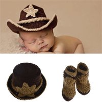 Wholesale girl cowboy hat crochet resale online - Newborn Baby Hats West Cowboy Photography Props Design Cap And Shoes Elasticity Costume Crochet Cute Kids Clothing dh WW
