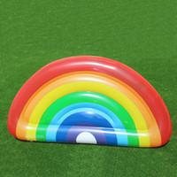 regenbogenkreis spielzeug großhandel-Halbkreis Regenbogen Aufblasbare Schwimmer Einfach Zu Tragen Pool Wasser Spielzeug Resuable PVC Schwimmen Ring Für Erwachsene Und Kinder 60at B