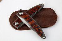 Wholesale best titanium hunting knife resale online - Drop shipping M390 Steel CR EDC Pocket Folding Knife Satin Finish Blade TC4 Titanium Alloy Snake Wood Handle Best Gift knives EDC Gear