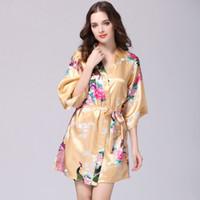 damen pyjama homewear großhandel-Chinesische Kimono Silk Pyjamas Homewear Brautjungfer Roben weibliche Floral Robe Pyjama Bad Kleidung Nachthemd Damen Kimono Robe