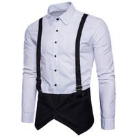 Wholesale White False Collar - Fashion 3D Designer False Straps Men Shirts Men's Long Sleeve Turn-down Collar Groomsman Dress Shirts Business Homme