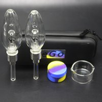 Wholesale glass pipe bags - Honeybird Nectar Collector Kits Titanium Tip Mini Glass Pipe Oil Rig Honey Bird Concentrate Honey Dab Mini Glass Bong With EGO Bag