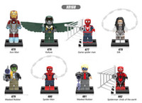 Wholesale Iron Man Games - 120pcs Mix Lot Super Heroes Series Minifig Silk Iron Man Vulture Game Spider Man Masked Robber XINH X0168 Mini Building Blocks Figures