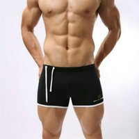Wholesale boxer person - New 2015 Men Swimwear Brave person Swimming Trunks Slim Sexy Mens Swimsuit Surf Bathing Swim Wear Boxer Shorts Sunga White Black