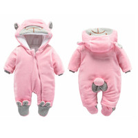 Wholesale bebe clothing online - newborn rompers winter thick warm baby girls rompers jumpsuit clothing infant bebe cartoon warm outfits snowsuit