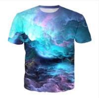 galáxia dos homens camisetas venda por atacado-Verão Mais Recente Moda Das Mulheres / Mens Espaço Nebulosa Galaxy Engraçado 3D Criativo Hip Hop Camisa Casual T DS00191