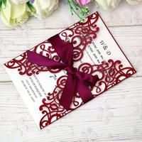 invitations ruban rouge achat en gros de-2019 Nouvelle livraison gratuite 5 * 7 cartes d'invitation rouge avec ruban pour mariage nuptiale Douche fiançailles anniversaire Graduation Business Party Invite