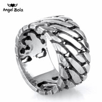 Wholesale rock band sale - Angel Bola Punk Biker Jewelry Wide Chain Ring Buddha Ring Rock Titanium Stainless Steel Ring Hot Sale Finger Art Retro Drop Shipping