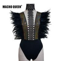traje negro de los hombres al por mayor-Festival holográfico Burning Man Feather Body Ropa Ropa Vestir Mujeres Black Lace Chocker Body Party Disfraces de fiesta