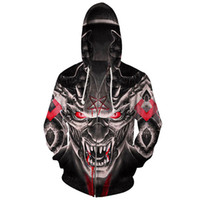 черепа с капюшоном оптовых-Cloudstyle 2018 New Men's Hoodie 3D Print Zipper Hoodies Vampire Sweatshirts Monster Skulls Hoodies Pocket Pullovers Male Tops
