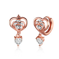 Wholesale Low Price Dangle Earrings - Low Price Wholesale 18K Rose Gold Plated Heart Drop Earrings with Zircon Woman Fashion Classic Jewelry Valentine's Day Gift Free Shipping
