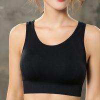 ingrosso reggiseno ragazze nere-Ragazza nera Estate Sport Wear Cotton Yoga Suit Fitness Bra Shorts Gym Top Vest Running Underwear CPA1341