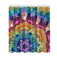 photos salle de bains achat en gros de-Image Imprimer Salle De Bains Set Tissu Rideau De Douche 3D Decor Collection Nautique Seascape Coloré Rideau avec Crochets