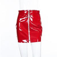 Cintura alta Corto PU Falda de Cuero de Las Mujeres Mini Falda Sexy  Cremallera Anillo Punk Blanco Negro Vendaje Falda Mujeres Faldas de Verano bbd0317fd673