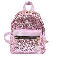 Wholesale Girls Bling Bags - Fashion Women PU Leather Bling Backpack Mini Small Bag Sequins School Bags For Teenagers Girls Ladies Bags Mochila Feminina