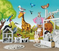Wholesale hand painted mountain resale online - Custom Retail Cute Hand Painted Cartoon Forest Animals Children s Room Background Wwall Painting Trees Mountain Animals Big Party Murals