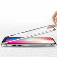 металлические флип-чехлы оптовых-Магнитная адсорбция Металл + закаленное стекло Прозрачный Встроенный магнит Задняя панель Чехол для телефона Ультра откидная крышка для iPhone XS Max XR X 8 7 6 6S Plus