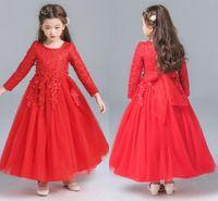 uzun beyaz etek için üst toptan satış-2019 Yüksek Kalite Beyaz Prenses Elbiseler Kızlar Kırmızı Dantel Elbiseler Düğün Çiçek Kız Etek Top HY084 Için Bir Uzun Kollu Elbiseler