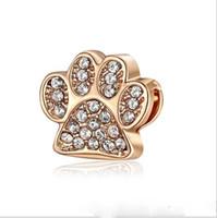 ingrosso perline di animali-Fit Pandora Charm Bracelet europeo argento Charms Bead Animal Dog Paw Print Charm perline Catena di serpente fai da te per le donne gioielli collana braccialetto