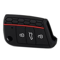 vw silikon anahtar kapakları volkswagen toptan satış-1 Adet Üst Kalite Silikon Araba Anahtarı Durum Uzaktan Çanta Tutucu Kapak Volkswagen VW Golf 7 mk7 Için