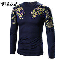 Wholesale Bird Shirt Mens - Wholesale-T-Bird 2017 Mens T Shirt Printing Fashion Long Sleeve Cotton T-Shirts Casual O-Neck Tshirt Men Tee Homme High Quality Tees Tops