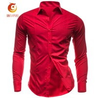 Wholesale open breast clothing - Red Shirt Men Long Sleeve Solid Slim Fit Shirt 2017 Casual Spring Men Shirts Single Breasted Camisa Homme Male Brand Clothing