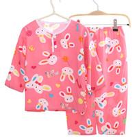 pijamas do dia das bruxas dos miúdos venda por atacado-Verão crianças pijamas set kid algodão dos desenhos animados impresso crianças coelho roupas de algodão sleepwaear conjuntos de pijama meninos meninas crianças