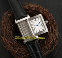 schweizer weißgold großhandel-Freundin Geschenk Reverso Q2668430 Swiss Quartz 2668430 Weißes Zifferblatt Damenuhr Silber Gehäuse Lederband Mode Damenuhren