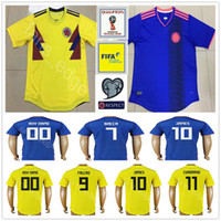 Wholesale Uniform Yellow - 2018 Colombia World Cup Soccer Jerseys Uniforms Yellow White Blue 10 JAMES 9 FALCAO 11 CUADRADO 8 AGUILAR 13 GUARIN SANCHEZ Football Shirt