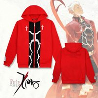 Wholesale fate stay night game - Anime Fate Stay Night Cosplay Saber Long Sleeve Hoodies Red Casual Jacket Zipper cardigan Coat